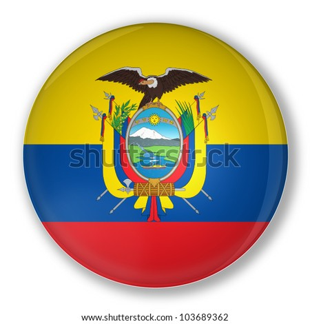 Illustration of a badge flag of Ecuador with shadow - stock photo