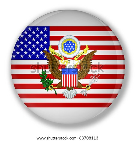 Illustration of a badge with flag of United States with the great seal - stock photo