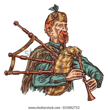 illustration of a bagpiper - stock photo