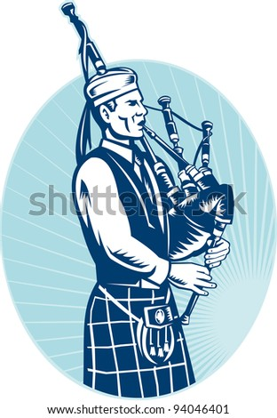 illustration of a bagpiper playing Scottish Highlands Bagpipes done in retro woodcut style facing side set inside ellipse. - stock photo