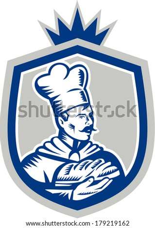 Illustration of a baker chef cook holding loaf of bread set inside shield crest done in retro woodcut style on isolated background. - stock photo