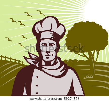 illustration of a Baker chef or cook with farm setting in background done in retro woodcut style - stock photo