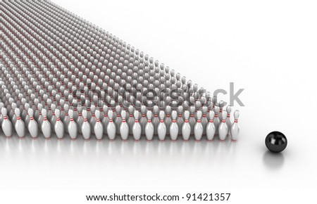 Illustration of a ball and skittles for bowling - stock photo