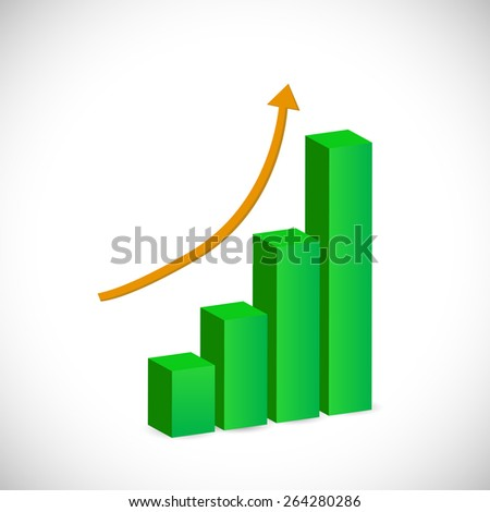 Illustration of a bar graph isolated on a white background.