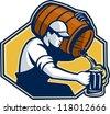 Illustration of a bartender worker with carrying beer barrel keg on shoulder pouring beer into glass mug. - stock vector