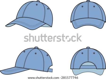 Illustration of a baseball cap from different views. Raster version