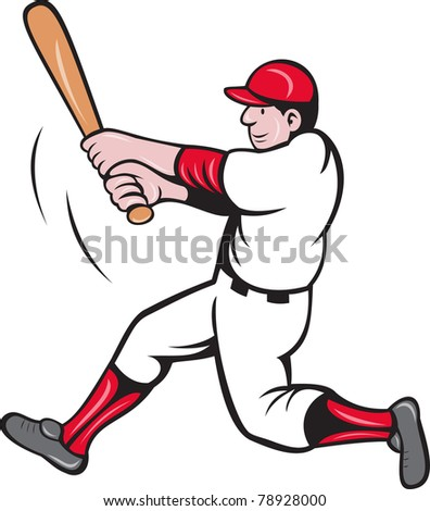 illustration of a baseball player batting cartoon style isolated on white