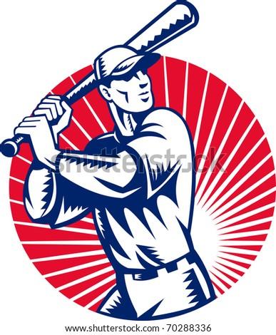 illustration of a Baseball player holding bat with sunburst in background set inside circle done in retro woodcut style. - stock photo