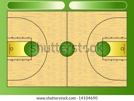 Illustration of a basketball court - stock photo