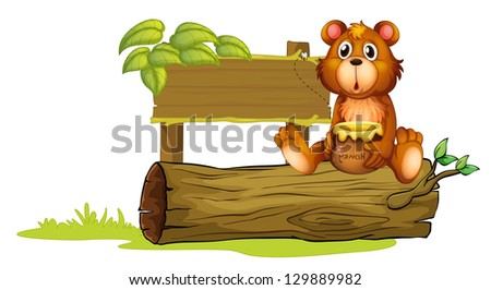 Illustration of a bear sitting on a trunk on a white background - stock photo