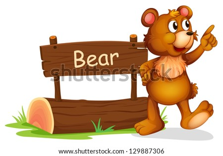 Illustration of a bear standing beside a wooedn board on a white background