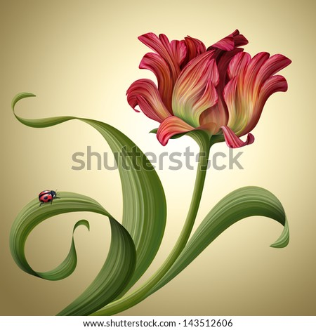 illustration of a beautiful abstract red tulip flower with ladybug sitting on green curly leaf - stock photo