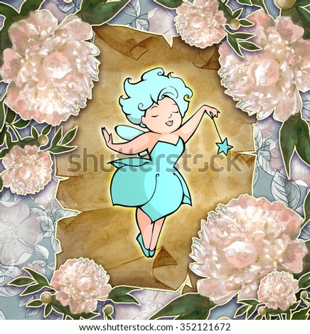 Illustration of a beautiful fairy among the flowers - stock photo
