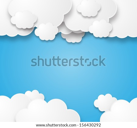 Illustration of a beautiful fluffy empty clouds on a blue background  - stock photo