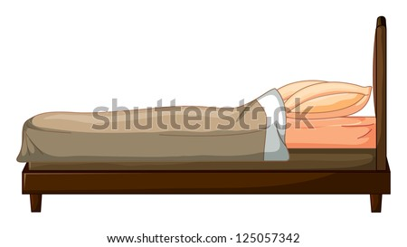 Illustration of a bed on a white background - stock photo