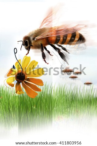 Illustration of a bee flying over grass and flowers - stock photo