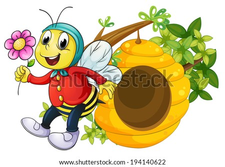 Illustration of a bee holding a flower on a white background - stock photo
