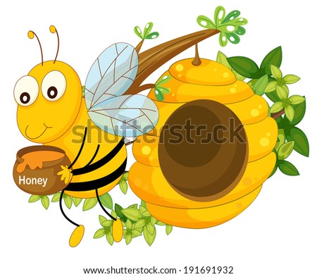 Illustration of a bee holding a pot of honey near the beehive on a white background - stock photo