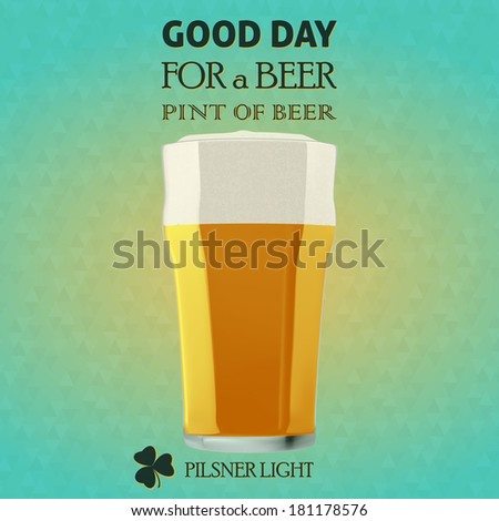 Illustration of a beer pilsner light for a St. Patrick Day. Green background with triangles - bitmap - stock photo