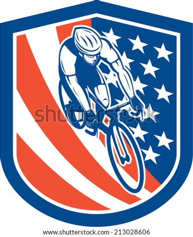 Illustration of a bicycle bike rider viewed from high angle with usa stars and stripes background set inside shield crest done in retro style.