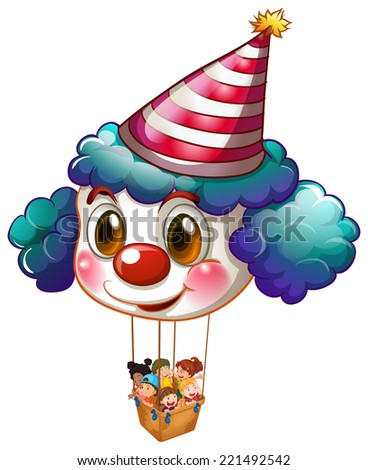 Illustration of a big clown balloon with a basket full of kids on a white background - stock photo