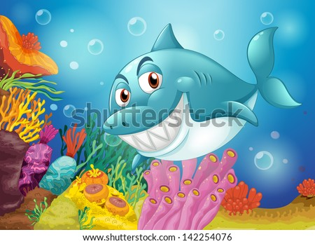 Illustration of a big fish near the coral reefs