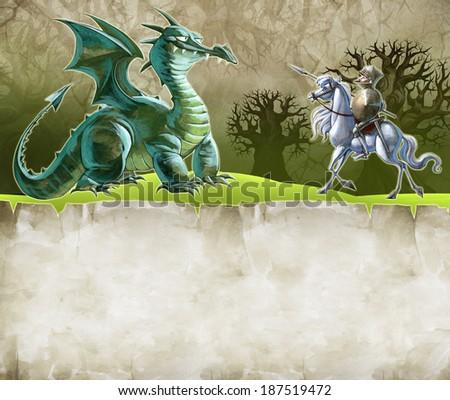 Illustration of a big green dragon - stock photo