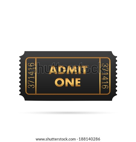 Illustration of a black and gold admit one ticket isolated on a white background. - stock photo