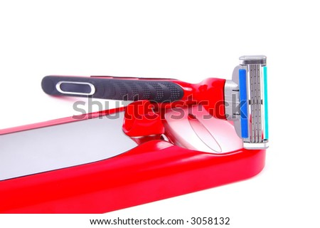 Illustration of a black and red safety razor / shaver