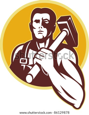 illustration of a blacksmith with hammer  viewed from front set inside circle done in retro style