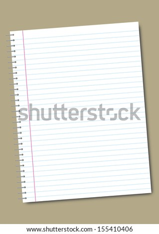 Illustration of a blank notebook page rotated