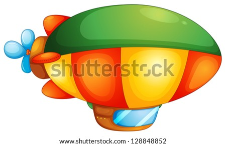 Illustration of a blimp on a white background - stock photo