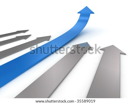 Illustration of a blue arrow, ahead of the competition. Could be used to represent success, growth, statistics etc.