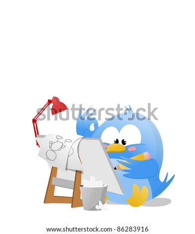 Illustration of a Blue Cartoonist Bird drawing on an artist pad - stock photo