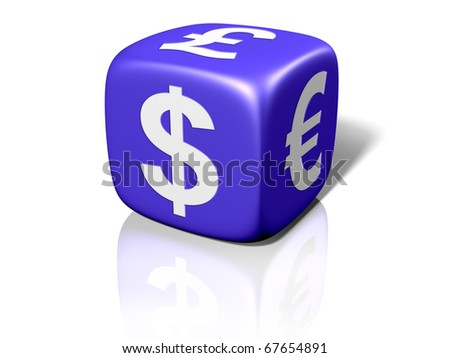 Illustration of a blue dice showing currency symbols - stock photo