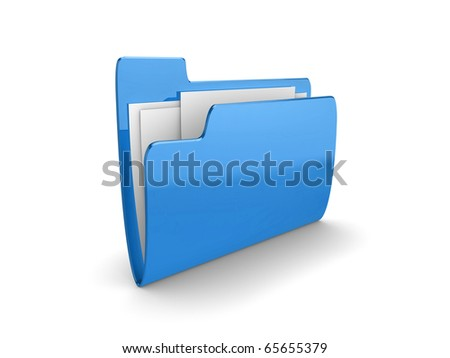 Illustration of a blue folder containing documents, on a white background - stock photo
