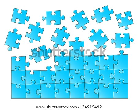 illustration of a blue jigsaw puzzle