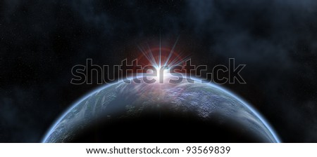 illustration of a blue planet and a sun in behind - stock photo
