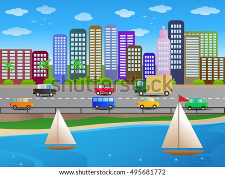 illustration of a boat on tropical beach city background
