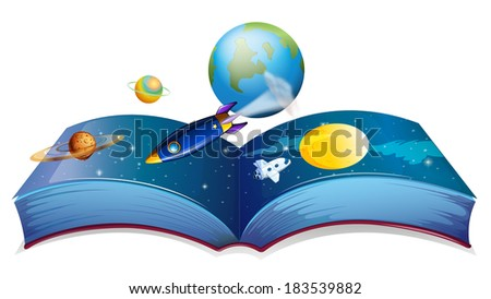 Illustration of a book showing the earth and other planets on a white background - stock photo