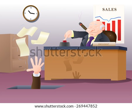 illustration of a boss fired his corporate employee loose holding his papers - stock photo