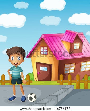 illustration of a boy, a football and a house - stock photo