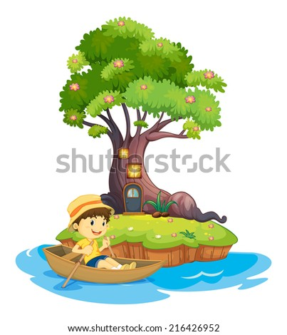 Illustration of a boy boating on a white background - stock photo