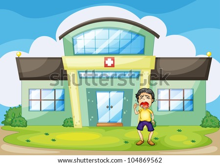 Illustration of a boy crying at hospital - - stock photo