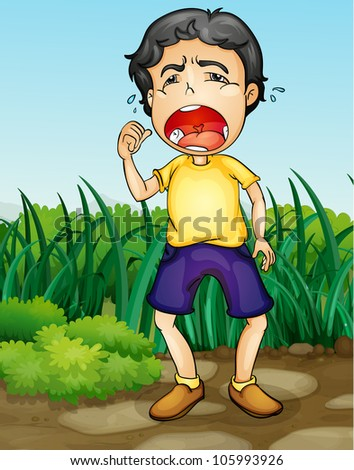 Illustration of a boy crying in a garden - stock photo