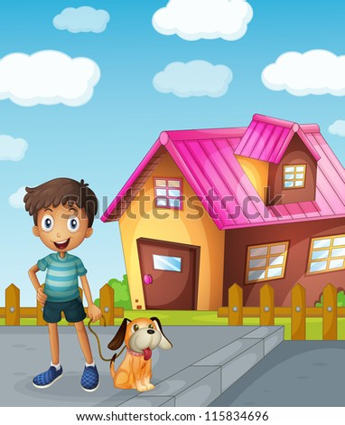 illustration of a boy, dog and house in a beautiful nature - stock photo