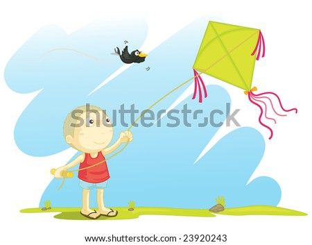 Illustration of a boy flying a kite