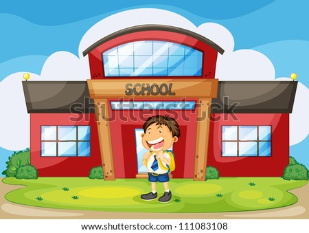 illustration of a boy infront of school