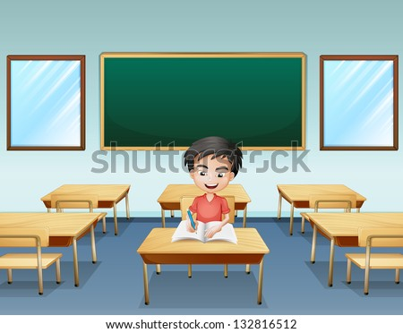 Illustration of a boy inside a classroom with an empty board at the back - stock photo
