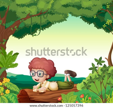 Illustration of a boy lying on a dry wood in a beautiful nature